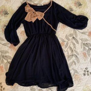 ModCloth Mystic Blue Sheet Dress w/ Taupe Bow